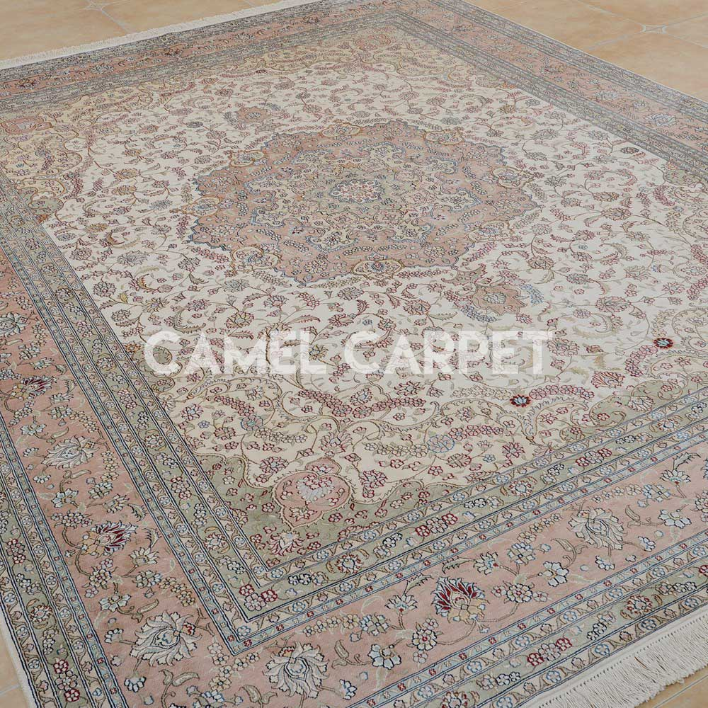 Hand Knotted Pure Silk Carpet S0920b Handmade Large Pink Oriental Rug