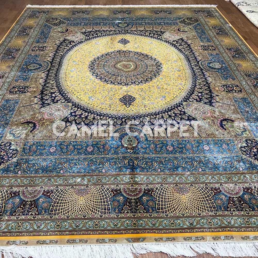 Yellow Blue Silk Area Carpets Online